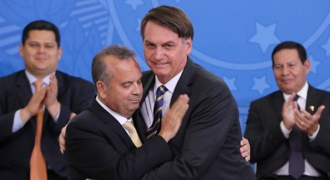 O presidente Jair Bolsonaro durante a posse do ministro Rogério Marinho