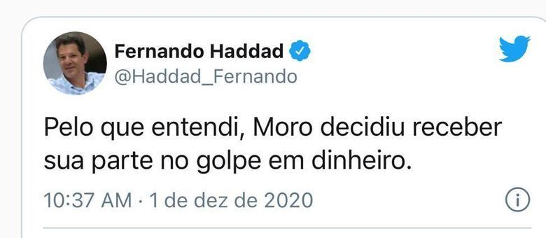 Haddad tem se dedicado a fazer comentário debochados e irônicos no Twitter