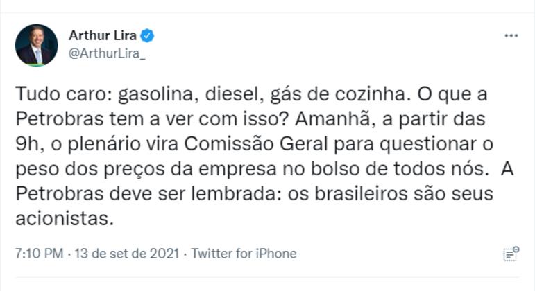 Post de Lira anuncia comissão para questionar preços praticados pela Petrobras