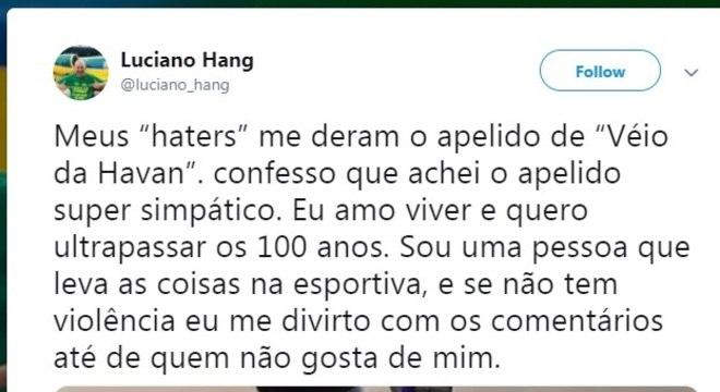 """Post no Twitter de Luciano Hang sobre o apelido """"Véio da Havan"""", que recebeu de seus críticos na internet"""