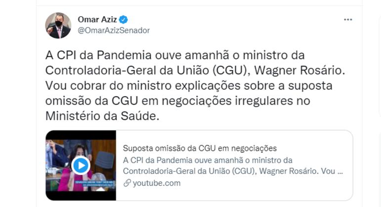 Presidente da CPI, senador Omar Aziz (PSD/AM) reforça que quer explicações sobre suposta omissão