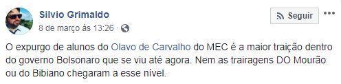 Postagem de Silvio Grimaldo no Facebook