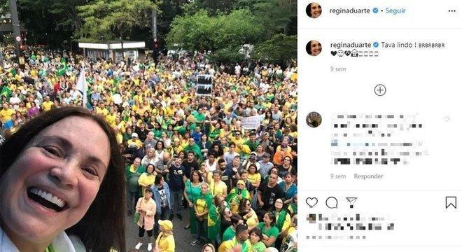 Redes sociais da atriz têm várias publicações favoráveis ao governo, como convocações para manifestações