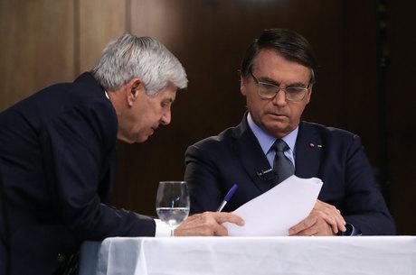 Presidente da República Jair Bolsonaro e o general Augusto Heleno durante gravação de discurso para a 75ª Assembleia Geral da ONU