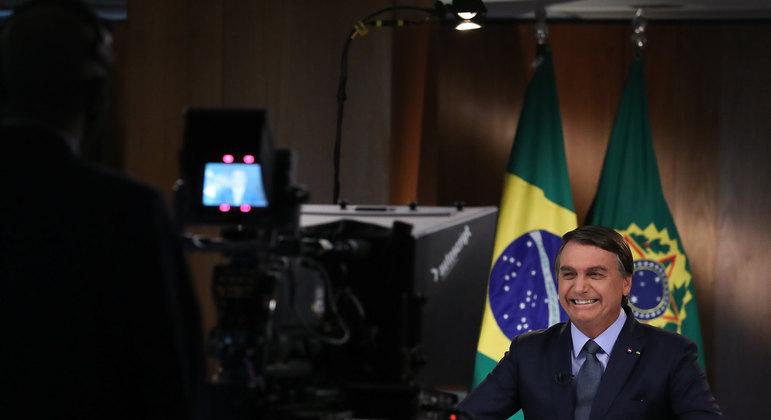 Bolsonaro durante gravação do discurso para a 75ª Assembleia Geral da ONU