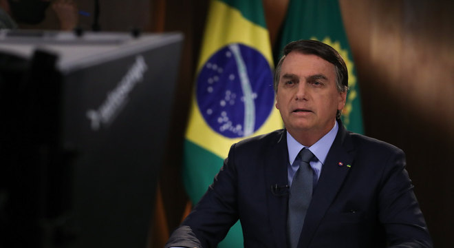 Presidente Jair Bolsonaro, durante gravação de discurso para a 75ª Assembleia Geral da ONU