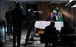 Palácio do Planalto 22/09/2020 Gravação de discurso para a 75ª Assembleia Geral da ONU (Brasília - DF, 22/09/2020) Presidente da República Jair Bolsonaro, durante gravação de discurso para a 75ª Assembleia Geral da ONU.  Foto: Marcos Corrêa/PR