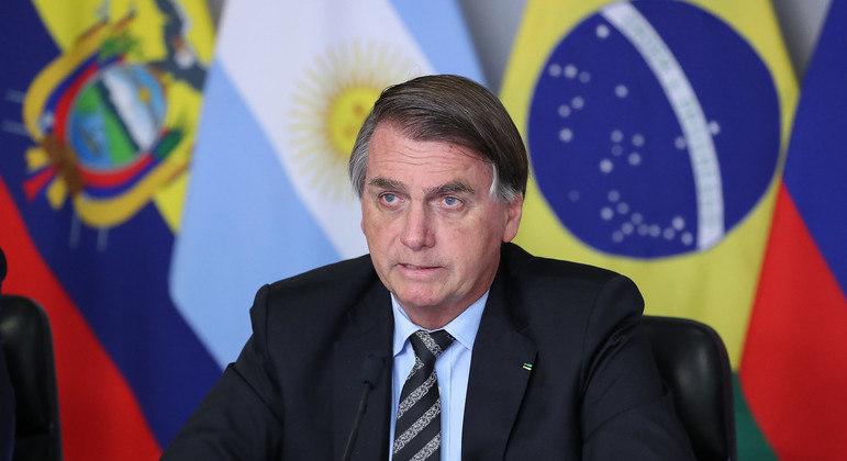 Bolsonaro durante reunião com os presidentes do Prosul