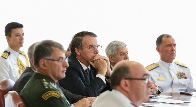 Bolsonaro em reunião com a cúpula das Forças Armadas em 2019