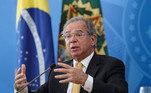 Palácio do PlanaltoSeguir 05/02/2021 Coletiva à imprensa (Brasília - DF, 05/02/2021) Ministro de Estado da Economia, Paulo Guedes durante coletiva à imprensa.  Foto: Marcos Corrêa/PR