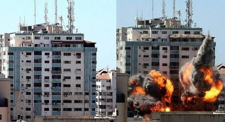 Prédio que abrigava os escritórios da emissora Al Jazeera  AP foi bombardeo em Gaza