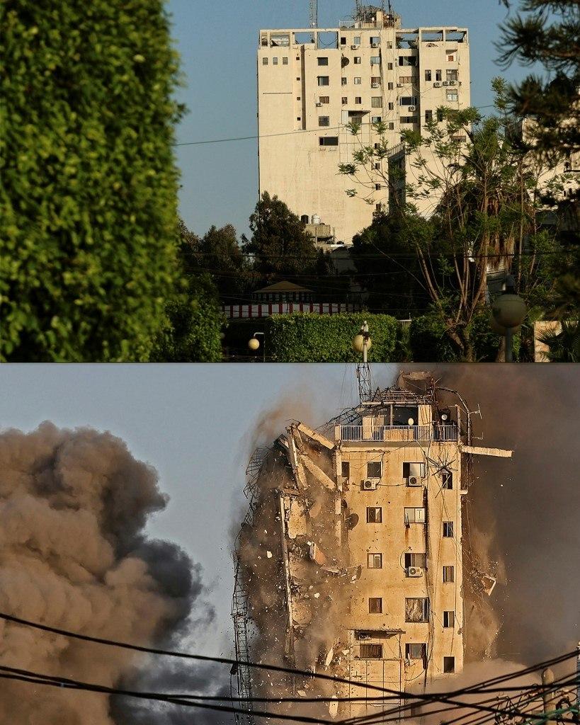 Montagem mostra prédio em Gaza antes e depois de ser destruído em ataque israelense