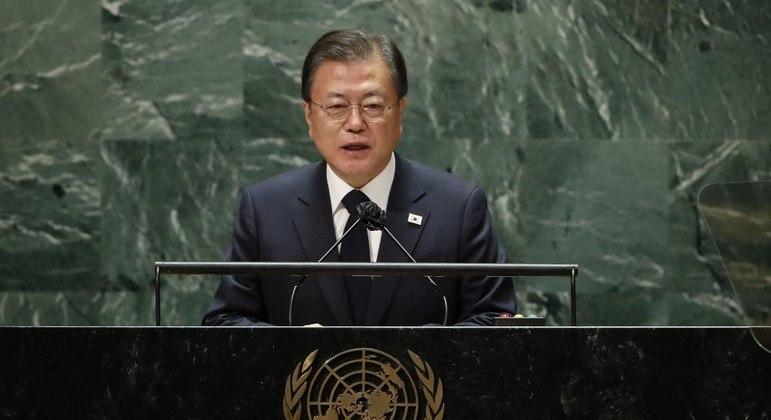 Moon Jae-In foi um dos líderes a discursar nesta terça (21) na Assembleia Geral da ONU