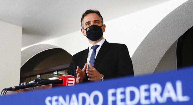 O presidente do Senado, Rodrigo Pacheco, durante coletiva em que falou sobre a CPI da Covid
