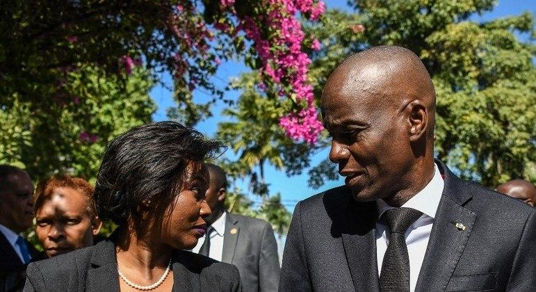 A primeira-dama do Haiti, Martine Moise, e o presidente assassinado Jovenel Moise