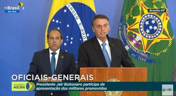 O presidente Jair Bolsonaro, em evento militar em Brasília