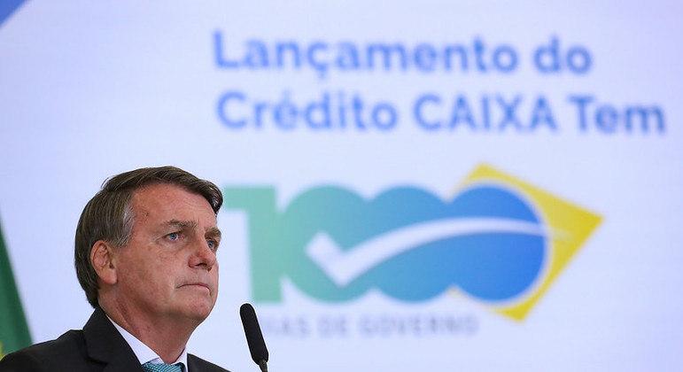 O presidente Jair Bolsonaro durante o lançamento do programa Caixa Tem