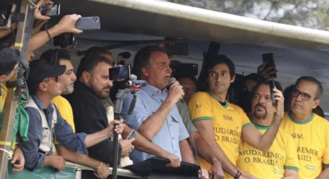 O presidente Jair Bolsonaro durante ato a favor do governo, na Paulista