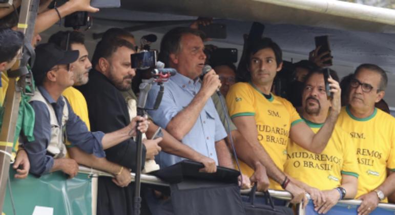 Bolsonaro durante discurso na Avenida Paulista, na última terça-feira, no feriado de 7 de Setembro