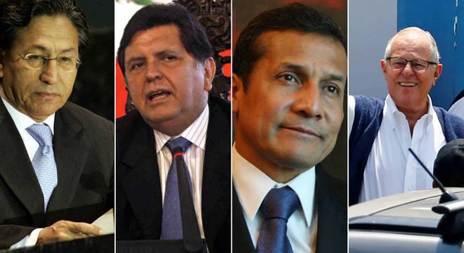 Da esquerda para a direita: Manrique, García, Humala e Kuczynski