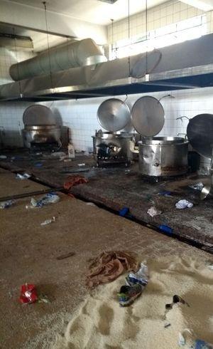 Cozinha do presídio foi destruída durante a rebelião