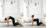 """6. Gato e vacaEssapostura permite um bom alongamento da coluna, promovendo a mobilidade. """"Elatambém ajuda a aliviar qualquer tensão na região lombar, além disso, a posturado gato e da vaca ajuda também você a se familiarizar com a sua coluna neutra –nem muito arqueada e nem muito arredondada, o que ajuda a melhorar a postura"""" –destaca a yogini.Veja comofazer:Comece em uma postura de quatro apoios, com os seus ombros sobreos pulsos e os quadris sobre os joelhos;Inspire lentamente e, ao expirar, arredonde a coluna e abaixe acabeça em direção ao chão (essa é a postura do """"gato"""");Inspire novamente levando a cabeça, o peito e o cóccix em direçãoao teto enquanto arqueia as costas para a postura da """"vaca"""";Faça o alongamento de um a três minutos."""