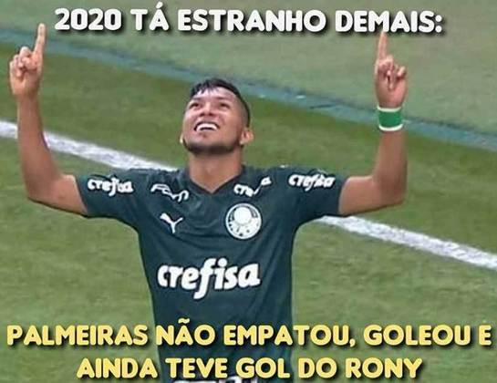 Primeiro gol de Rony com a camisa do Palmeiras rende memes nas redes sociais