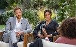 Em março deste ano, o casal deu uma entrevista bombástica à Oprah. Meghan Markle acusou a família real 'perpetuar mentiras'. Assunto ganhou destaque em toda a imprensa internacional