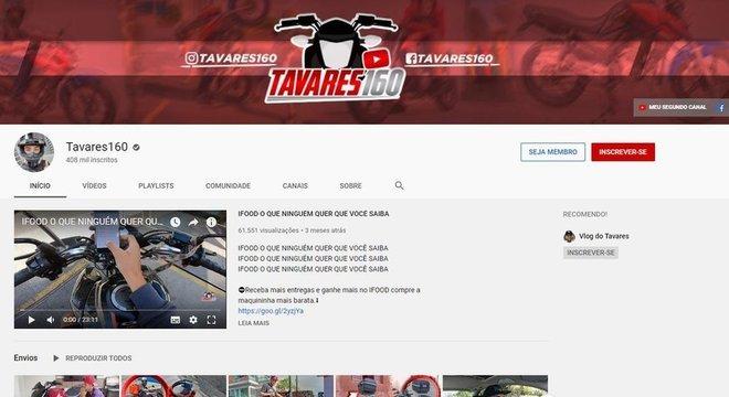 Tavares 160, um dos maiores youtubers do nicho, tem 407 mil seguidores