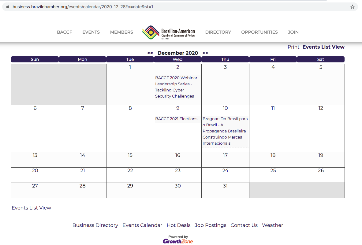 Calendário de eventos do Brazilian-American Chamber of Commerce of Florida