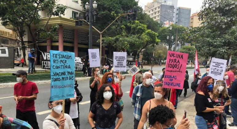 Professores fazem manifestação em frente a Câmara Municipal de SP