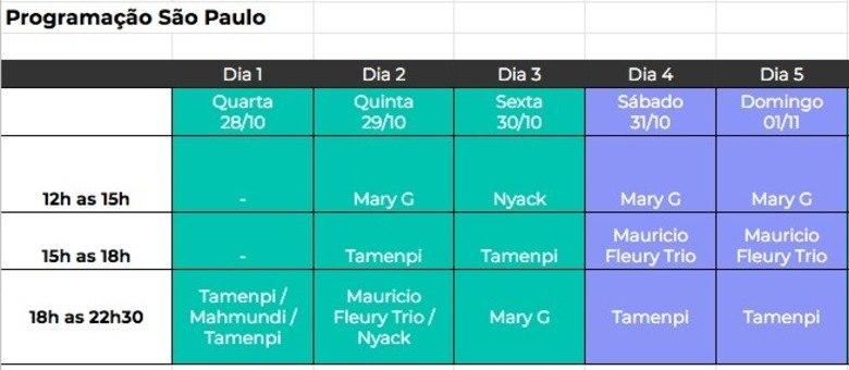 Programação musical do festival, em São Paulo, até o 1º dia de novembro
