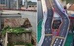 A proprietária de um pequeno imóvelem Guangzhou, na China, vive atualmente entre as duas pistas de um viaduto. Tudo porque ela se recusou a vender a casa de40 metros quadrados ao governo local