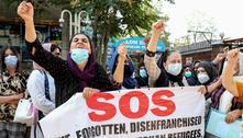 Afegãos protestam em frente à sede da ONU noQuirguistão