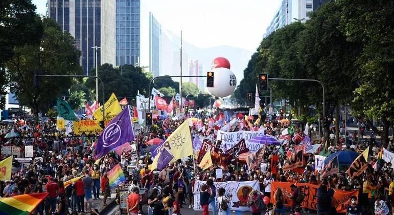 Protesto no Rio de Janeiro aconteceu pela manhã e se concentrou na região central da cidade