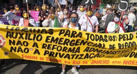 Protesto contra o governo Jair Bolsonaro, no Rio de Janeiro (RJ)