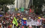 SP - PROTESTO-CONTRA-JAIR-BOLSONARO-AVENIDA-PAULISTA - GERAL - Protesto contra o presidente Jair Bolsonaro na Avenida Paulista em São Paulo (SP), neste sábado (3)