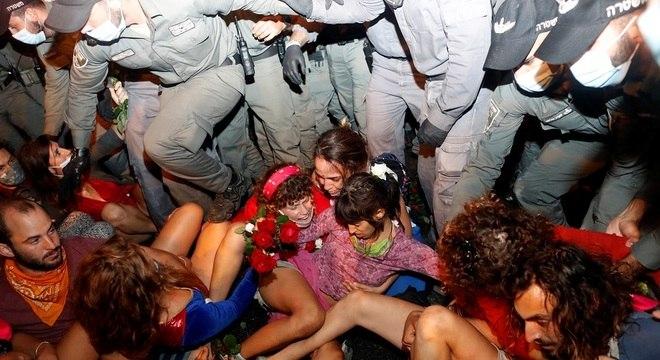 Manifestantes protestam contra Netanyahu