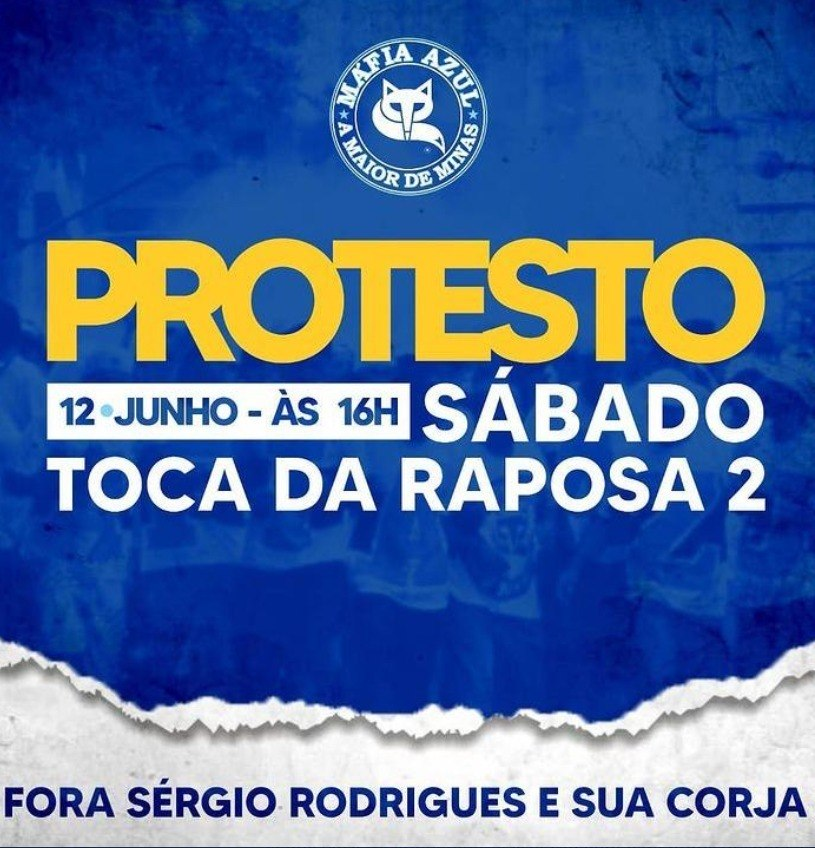 Torcida organizada convoca torcedores para protesto neste sábado (12)