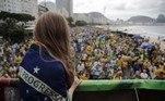 Protesto em apoio ao governo do presidente Jair Bolsonaro no Rio de Janeiro (RJ), neste domingo (26).