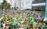 Protesto em apoio ao governo do presidente Jair Bolsonaro no Rio de Janeiro (RJ), neste domingo (26)