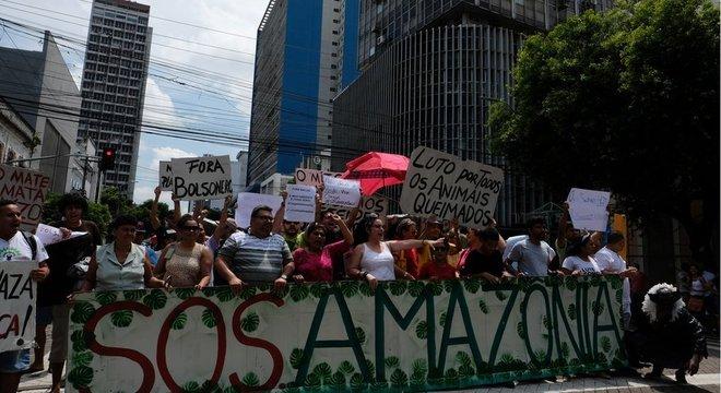 Protesto em defesa da Amazônia em Manaus, em agosto deste ano