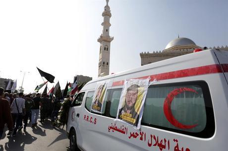Palestinos protestam durante velório na Faixa de Gaza
