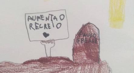 Alunos citam Paulo Freire em cartaz