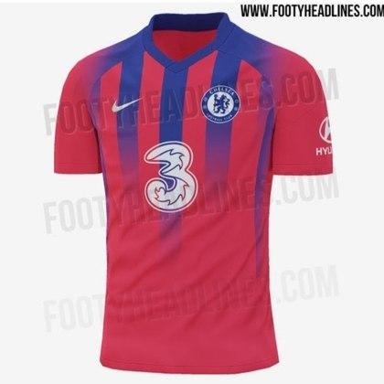 Próxima camisa 3 do Chelsea - Temporada 2020/2021 terá troca de patrocinadora master no clube: sai a Yokohama Tyres e entra a Three Telecom.