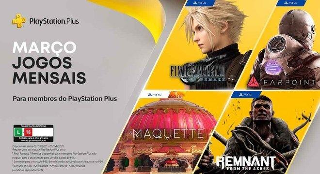 PS Plus de março terá Final Fantasy VII Remake e mais 3 jogos