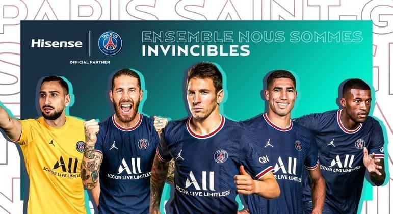 No Twitter do PSG, Donnarumma, Sérgio Ramos, Messi, Hakimi e Wijnaldum