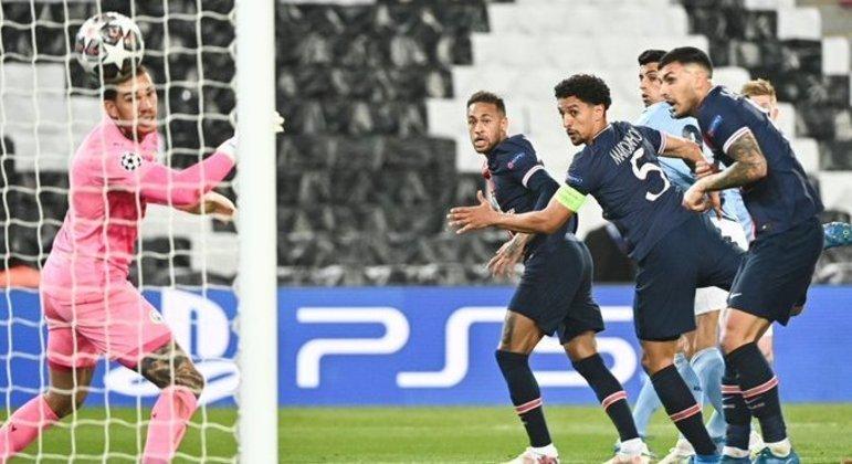 Detalhe do tento do gol de Marquinhos, PSG 1 X 0 City