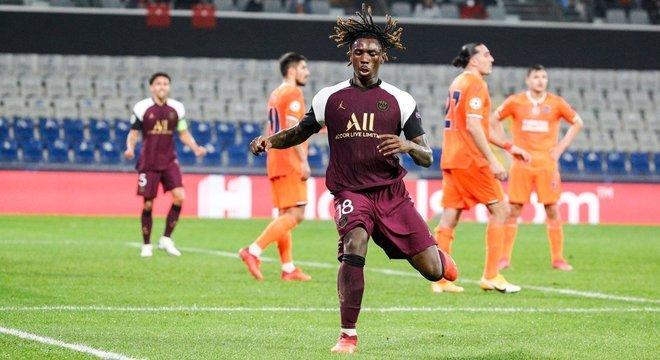 A euforia de Moise Kean, o autor dos dois gols do PSG
