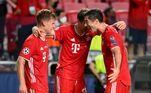 Jogadores do Bayern comemoram a conquista da Champions sobre o PSG após a vitória de 1 a 0